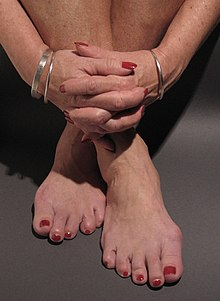 Fingernails And Toenails With Red Nail Polish