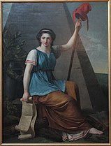 Seated woman with Liberty pole