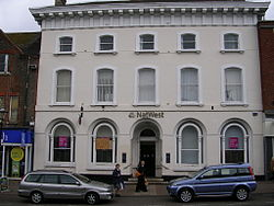 The NatWest Bank at Leighton Buzzard, Bedfordshire, England in the style of an Italian palazzo is an example of Neo-Renaissance architecture.