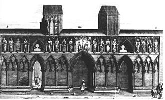 Jacob Maschius - West front of the Nidaros Cathedral, Trondheim, Norway. Drawing by Maschius, 1661.
