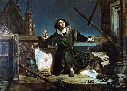 Astronomer Copernicus, or Conversations with God, 1873, by Matejko. In background: Frombork Cathedral. Nikolaus Kopernikus 2.jpg