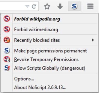 NoScript - The classic NoScript menu in Firefox