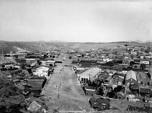 Nogales, Arizona - Nogales, Santa Cruz County, Arizona, US, circa 1899. Showing boundary line between Arizona, (right); and Sonora, México, (left).