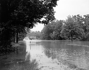 North Anna River - Flooding of the North Anna River along U.S. Route 1 after Hurricane Camille, 1969