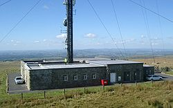 A guyed mast transmitter building