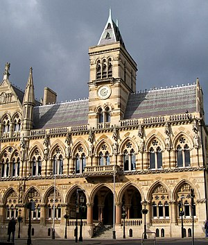 "Edward William Godwin - Northampton Guildhall, built 1861–64, displays Godwin's ""Ruskinian Gothic"" style."
