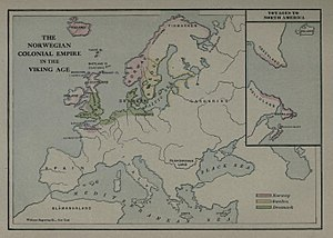 Kingdom of Norway (872–1397) - Map of the Norwegian Colonial Empire in the Viking Age (from Gjerset (1915), History of the Norwegian People)