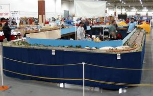 NTrak - An NTrak layout set up for operations at Trainfest, a model train show in Milwaukee, WI in 2004.