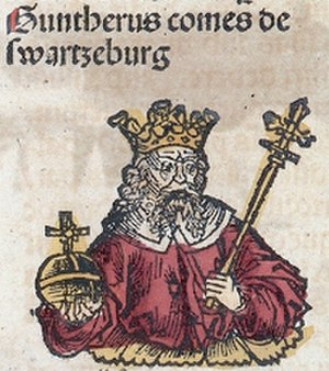 Anti-king - Günther von Schwarzburg, antiking to Charles IV in 1349, Nuremberg Chronicle, 1493