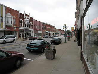 Oak Harbor, Ohio - Water Street runs concurrently with State Routes 105 and 163 in downtown Oak Harbor