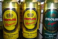 Obolon' beer tin beer cans. Moscow, Russia.JPG