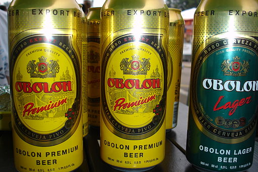 Obolon' beer tin beer cans. Moscow, Russia