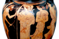 Odysseus and Athena at the meeting with Nausicaa, Attic red-figured amphora from Vulci, 440 BC, Staatliche Antikensammlungen, Munich (8957437815) cropped glare reduced white bg.png