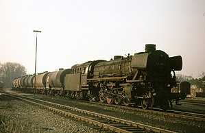 DRB Class 41 - Oil-burning 042 (=041) class 2-8-2 with tank wagons north of Rheine, Easter 1974
