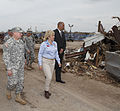 Oklahoma Gov. Mary Fallin, center, leads U.S. Army Gen. Frank Grass, left, the chief of the National Guard Bureau, through the Plaza Towers Elementary School in Moore, Okla., May 28, 2013 130528-Z-VF620-4630.jpg