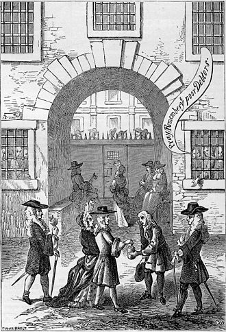"Fleet Prison - ""Pray remember ye poor debtors"": inmates of the Fleet Prison beg passers by for alms"
