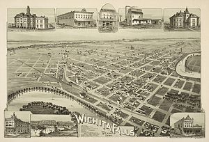 Wichita Falls, Texas - Map of Wichita Falls in 1890