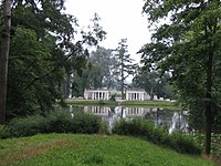"""View of the so-called Ruins and the Laznevogo lake of the historical landscape park """"Alexandria""""."""