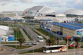 Олимпийский парк Сочи Википедия Вид на основные сооружения в центре Олимпийского парка во время Олимпийских игр