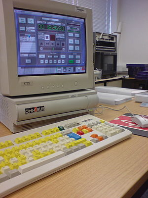 RiscPC - Customised RiscPC, running OmniBus Systems' OUI software, shown here in a training centre.
