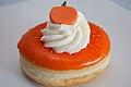 Orange-glazed Halloween doughnut with pumpkin decoration (15459377222).jpg