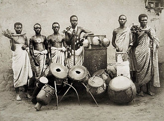 "Akan Drum - The ""orchestra"" of the Chief of Abetifi c. 1890 showing a similar drum"