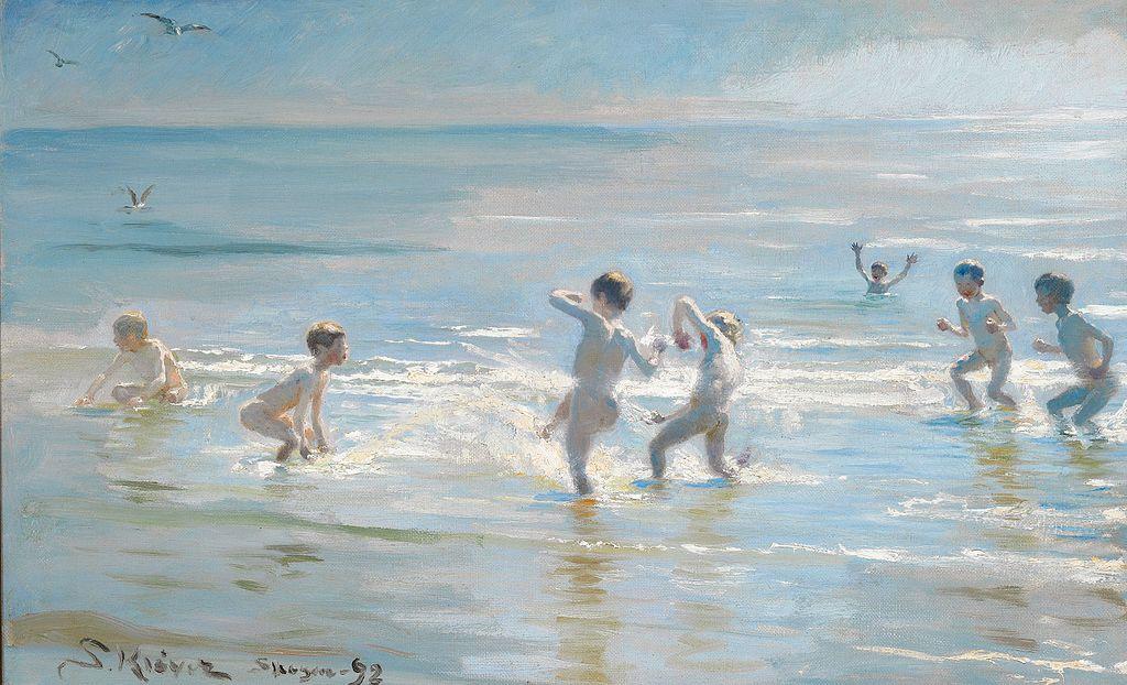 P. S. Krøyer - En Flok Drenge ude i det solglitrende Vand (1892).jpg