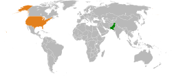 Map indicating locations of Pakistan and United States