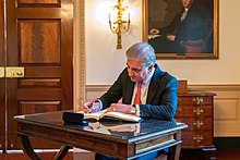 Pakistani Foreign Minister Makhdoom Shah Mahmood Qureshi Signs the Guest Book (49398732208).jpg