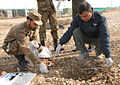 Pakistani soldiers measure the blast crater of a simulated improvised explosive device as part of a training scenario during a 10-day explosive ordnance disposal training event at Bagram Airfield, Afghanistan 100203-A-TK301-007.jpg