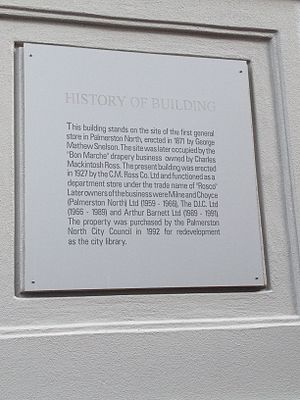 George Matthew Snelson - Plaque on the Palmerston North City Library, commemorating Snelson's first store