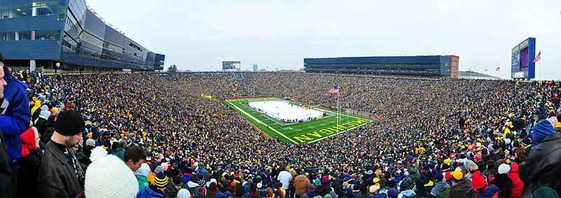 Michigan Stadium during a hockey game