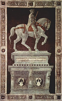 Funerary Monument to Sir John Hawkwood: commissioned in 1436 for the Florence Cathedral. The fresco, by Paolo Uccello, is an important example of art commemorating a soldier-for-hire in the Italian peninsula and is a seminal work in the development of perspective.