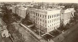 1877 U.S. Patent Office fire - Patent Office burnt out parts being repaired
