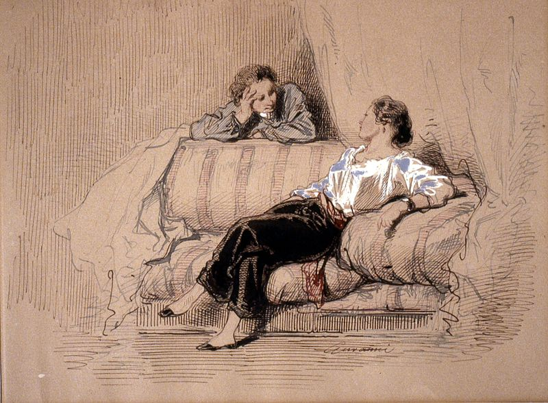 File:Paul Gavarni - Lady on Sofa - Walters 371427.jpg