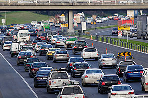 Traffic slows to a crawl on the Monash Freeway...