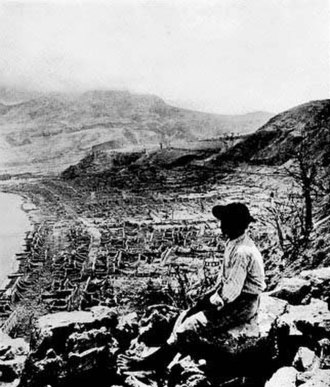 Angelo Heilprin - One of Heilprin's most famous photographs: the ruined city of Saint-Pierre, with the Montagne Pelée volcano lost in cloud in the background
