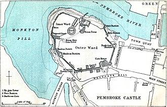 Siege of Pembroke - Plan of the defences of Pembroke Castle