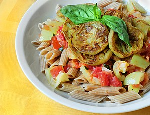 Diet food - Penne with eggplant and basil in yogurt-tomato sauce. Dish is a part of cookbook for womens with Gestational diabetes.
