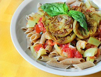 Diet food - Penne with eggplant and basil in yogurt-tomato sauce. Dish is a part of cookbook for women with Gestational diabetes.