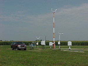 James Hansen - A typical automated airport weather station which records the routine hourly weather observations of temperature, weather type, wind, sky condition, and visibility. These surface stations are located around the world, and are used to derive a global temperature.