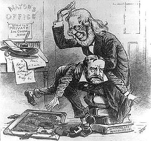 Peter Cooper - 1879 Puck cartoon shows Cooper spanking his son Mayor Edward Cooper