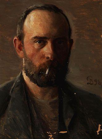 Peter Ilsted - The Artist's self-portrait with a cigaret (Kunstnerens selvportræt med cigaret), 1898