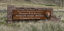 Petroglyph National Monument visitor center entrance sign.jpg