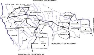 Don Carlos, Bukidnon - Political map of Don Carlos, showing its 29 barangays