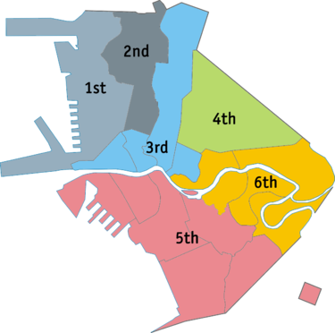 Manila is divided into six congressional districts as shown in the map. Ph fil congress districts manila.png