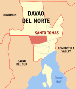 Map of Davao del Norte showing the location of Santo Tomas