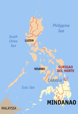 Map of the Philippines with Surigao del Norte highlighted