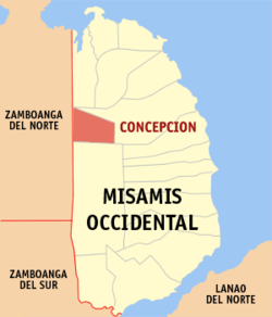 Mapa ti Misamis Occidental a mangipakita ti lokasion ti Concepcion, Misamis Occidental.