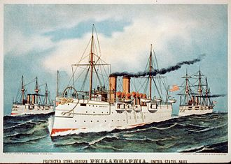 USS Philadelphia (C-4) - Painting of the ship c. 1893